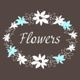 Blumenweinleserahmen manuelle Zeichnung Stockbilder