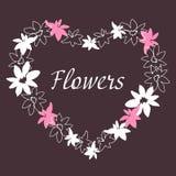 Blumenweinleserahmen manuelle Zeichnung Lizenzfreies Stockbild