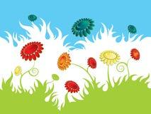 Blumenwiesentapete lizenzfreie abbildung