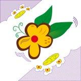 Blumenzusammensetzung mit gestreiftem Hintergrund in Lizenzfreies Stockfoto