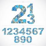 Blumige Zahlen der Ökologieart, blaue Vektornumeration gemacht unter Verwendung Stockfoto