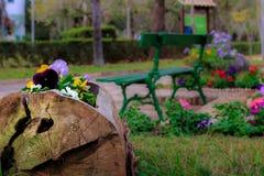 Blumiger Garten in einem Park lizenzfreie stockbilder