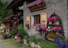 Blumiges Dorf in den französischen Alpen stockbild