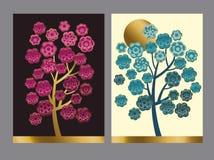 Blummig drzewa kwiecisty wzór w brght azjata stylu ilustracja wektor