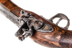 Blunderbuss trigger. An old blunderbuss isolated over a white background stock photo