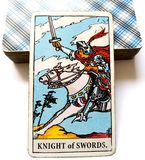 Knight of Swords Tarot Card Chatty Talkative Public Speaking Vocal Literal Cool Swift Action Speed Rush Hasty Rebellious. Blunt Direct Honest Lawful Assertive stock photos