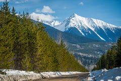 Blunt Mountain Pinnacle - Road View. Blunt Mountain between Smithers and New Hazelton is shown from the Moricetown Forest Service Road stock photography