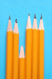 Blunt Pencil. Falling behind the rest. Can illustrate concept of learning difficulties in education Stock Photo
