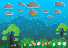 Blue landscape with trees rocks sky, Gray clouds and rain, Vector illustration royalty free illustration