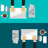 Vector illustration. Flat backgrounds set for Business, Financial Royalty Free Stock Photo