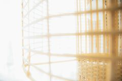 Blur of abstract Bamboo wicker dome lantern. Hanging Ceiling lam stock photo