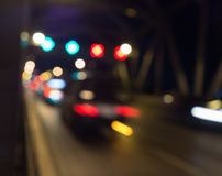 Blur abstract bokeh of street city night light background Stock Photos