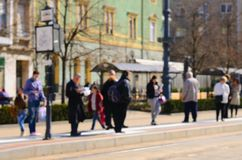 Blur abstract people background. In tram stop. Cyti scene Royalty Free Stock Photography