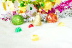 Blur background of Christmas decoration on white wool. stock photo