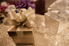 Blur background of Gift box and ribbon bow for celebration festival event new year party Stock Image