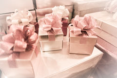 Blur background of Gift box and ribbon bow for celebration festival event new year party Royalty Free Stock Photography