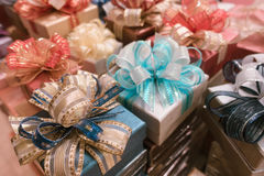 Blur background of Gift box and ribbon bow for celebration festival event new year party Royalty Free Stock Photo