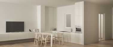 Blur background interior design, of minimalist white kitchen with dining table and parquet floor, oven sink and gas stove, modern. Blur background interior royalty free illustration
