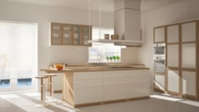 Blur background interior design, modern wooden and white kitchen with island, stools and windows, parquet herringbone floor. Blur background interior design royalty free stock photos