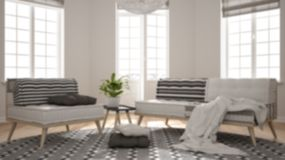 Blur background interior design, scandinavian minimalist living room with big windows, sofa, armchair and carpet, interior design. Concept vector illustration