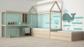 Blur background interior design, wooden and turquoise children bedroom with single bed and desk, minimalist. Architecture stock photography