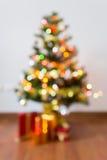 Blur background, light celebration on christmas tree Royalty Free Stock Images