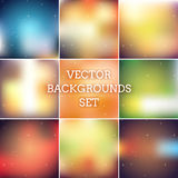 Blur backgrounds pack. Abstract holiday colorfull blurred vector backgrounds set Royalty Free Stock Photography