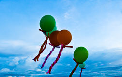 Blur balloons with blue sky background Stock Photos