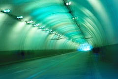 Blur blue light in road tunnel Royalty Free Stock Photography