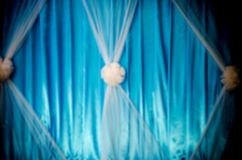 Blur Blue and white Curtain on Stage. Stock Image
