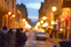 Blur. Ry street lights on an old historical street Royalty Free Stock Image