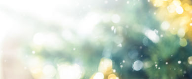 Blur bokeh abstract background from decorated Christmas tree. Panoramic banner royalty free stock photography