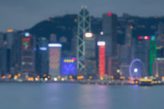 Blur bokeh light, Hong Kong Harbour at sunset Royalty Free Stock Photography