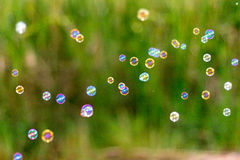 Blur bubbles on natural background. Stock Photos