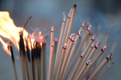 Blur burning incense and candle  for backgroud Stock Photo
