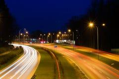 Blur of car lights on night freeway
