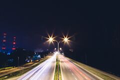 Blur of cars at night royalty free stock photo