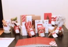 Blur of Christmas gifts background Stock Photo