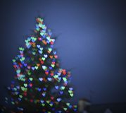 Blur Christmas tree with hearts Stock Photography