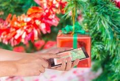 Blur christmas tree and ornament Stock Photos