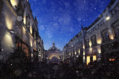 Blur city in evening with snow Stock Image
