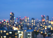 Blur City scape night scene skyline Building with lighting Royalty Free Stock Photo