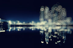 Blur city skyscrapers in night Royalty Free Stock Photography