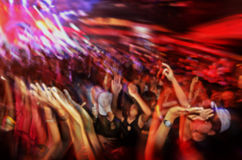 Blur club party  have is fun. Hands up in the air Stock Photo