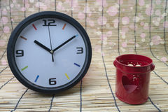 Blur concept:clock and red heart,Love and time concept Stock Photography