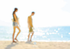 Blur couple walking at the beach - summer holiday vector background. Concept Stock Photo