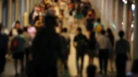 Blur crowd people walking at night stock footage