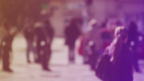 Blur Crowd of People Walking On the Street in Bokeh, unrecognizable group of men and women as blur urban background stock video footage
