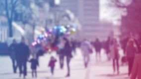 Blur Crowd of People Walking On the Street in Bokeh, unrecognizable group of men and women stock video footage