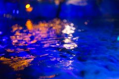 Blur Dark blue water pool moon. deep sea reflect in night time. For background royalty free stock photo